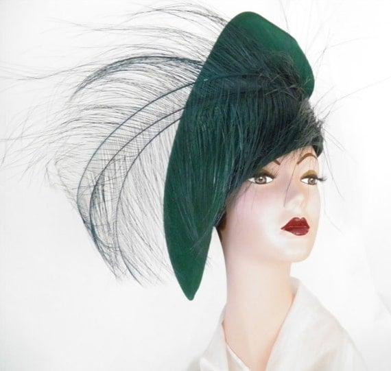 Vintage Bellini hat, tilt slouch  green
