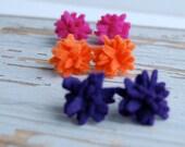 Felt flower earrings plum purple studs posts