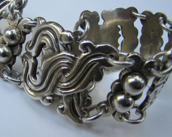 Taxco Sterling Silver Bracelet. William Spratling Vindobonesis Design. 1940s Mexico Silver Bracelet. Mid Century Modern Mexican Jewelry