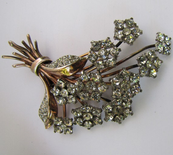 1940s Trifari Dress Fur Clip. Large Sterling Silver Gold Alfred Phillipe Brooch. Crystal Rhinestone Flower Corsage Bouquet. Vintage KTF