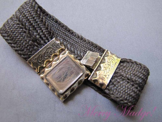 Antique Victorian Woven Hair Work & Gold Bracelet.  Pie Crust Chased Engraved Gold Mounts. Mourning Memento Mori Jewelry. 1890
