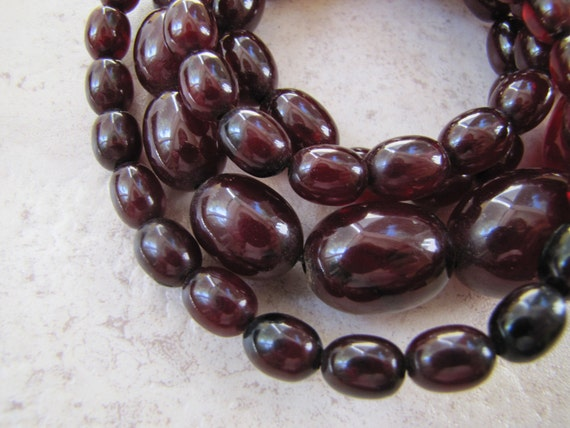 RESEVED FOR DIANE Art Deco French Cherry Amber Bakelite Bead Necklace Extra Long Flapper Length c1930