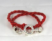 Wrapped Red Silk Cord Sterling Silver Bracelet