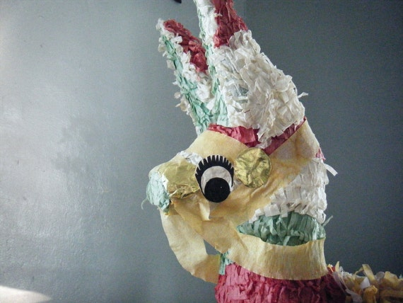Mexican Pinata Burro Donkey Red Green White Vintage 80s