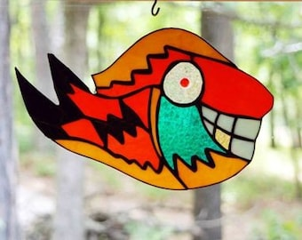 Stained Glass Panel, Fish known as BRUCE, suncatcher glass art window treatment