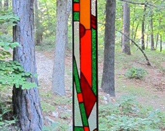 Stylish Stained Glass panel gift Abstract glass art window decor suncatcher window treatment art glass