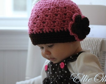 Raspberry Truffle Flowered Cap - or choose your size and colors