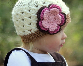 Ellie Oh's - Flowered Beanie - choose your colors and sizes
