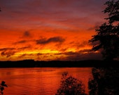 Fire Sky Sunset Wisconsin Lake 5x7 Fine Art Photographic Print Home Decor gift under 10