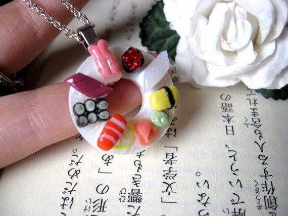 Circle Sushi Platter Necklace by Coryographies