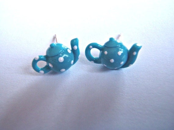 Tiny Blue Polkadot Teapot Earrings by Coryographies (Made to Order)