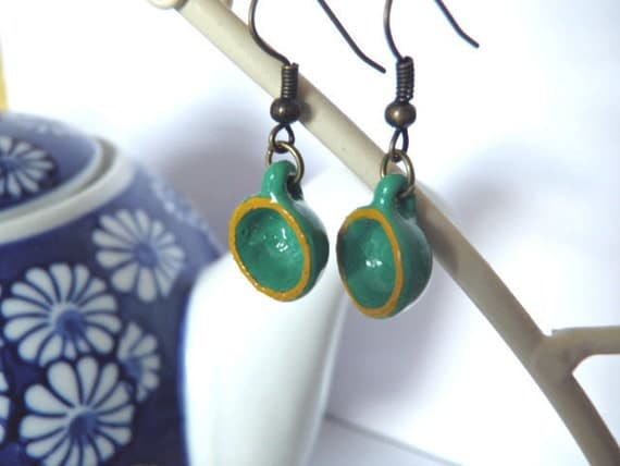 Green Teacup Earrings with gold rim - Tea Jewelry by Coryographies