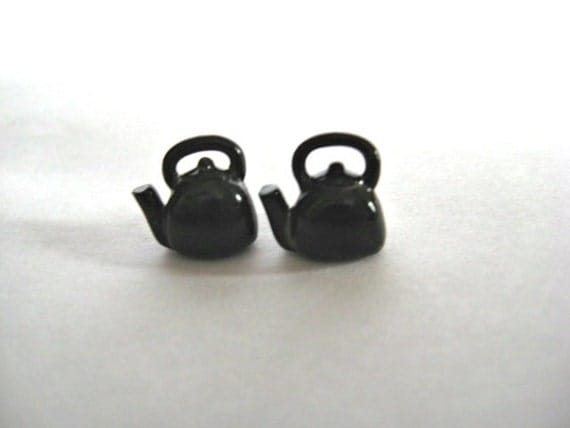 Black Kettle Earrings - Tea Jewelry by Coryographies