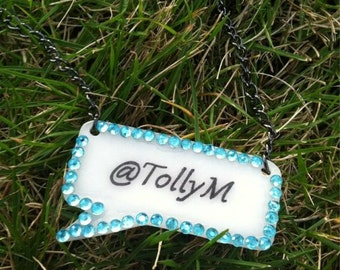 custom Twitter necklace with crystal border