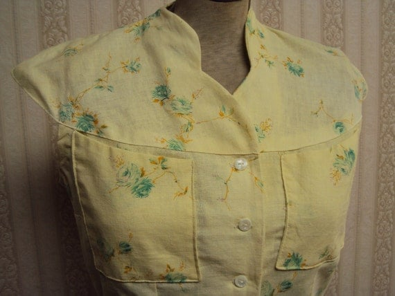 Handsewn  light, airy vintage inspired yellow blouse