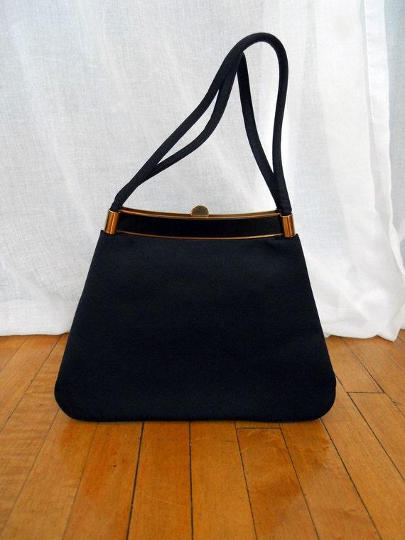 S A L E - Black Satin Twifaille by Rosenfeld Handbag