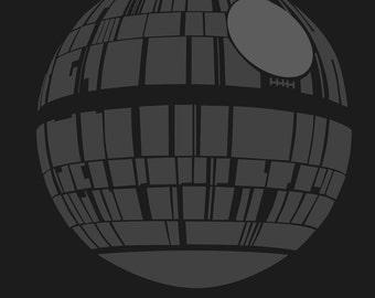 Death Star 8x10 Star Wars minimalist poster in black and grey