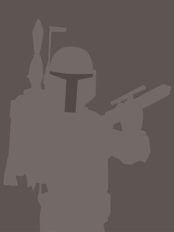 Boba Fett 8x10 Star Wars minimalist poster in grey