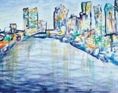 Philadelphia Cityscape Print - Urban art, contemporary art, abstract art, colorful, skyline, blue, 16x20 with mat