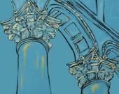 Architecture Pillars Print - home decor, architecture painting, blue, black, gold, building, office decor, washington, dc, 16x20 with mat
