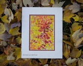 Red, Yellow Abstract Print - orange, modern art, home decor, office decor, autumn, contemporary, 11x14 with mat