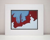 Modern Red Print - modern painting, abstract art, home decor, office decor, contemporary art, urban decor, gray, white, 11x14 with mat
