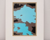 Turquoise and Brown Modern Print - abstract art, home decor, office decor, contemporary art, urban, 11x14 with mat
