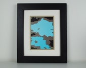 Turquoise and Brown Modern Print - abstract art, home decor, office decor, contemporary art, urban, 8x10 with mat