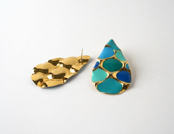 Blue Turquoise and Gold Teardrop Earrings