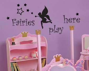 Fairies play here - LARGE Wall Decal - Removable - with stars
