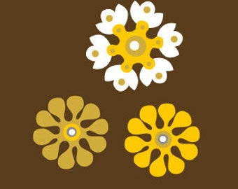 Sweet Sunshine Flowers Wall Decal - Removable Vinyl