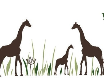 Willow Wall Decal set with Giraffes and Birds  - Removable Vinyl