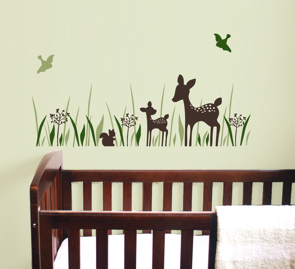 Willow wall decal set with fawn deer birds squirrel for Deer wall decals