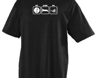 Eat Sleep Ski T-shirt Humorous Shirt Funny Skiing Tee Item #4