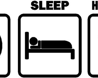 Eat Sleep Hang Glide Car Decal Sticker Vinyl Graphic (Color White)