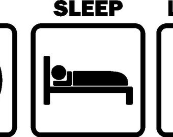 Eat Sleep Lacrosse Car Decal Stickers Vinyl Graphic (Color White)
