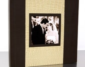 Two-Tone Leather Cover w/ Cameo - Collage Flush Mount Wedding Album