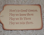 Good Women Gift Tags - Here's To Good Women Quote Gift Tags - Set of Six