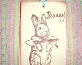 Easter Bunny Tags - Victorian Bunny Rabbit with Bow - Shower - Wish Tree Tags - Set of Five