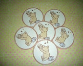 Winnie The Pooh and the Honey Pot Gift Tags - Set of Six - Baby Shower - Birthdays -