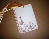 Wine Bottle Gift Tags -  Wine bottle, glass of wine and grapes - Set of Six