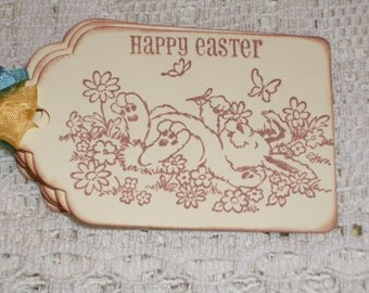 Easter  Gift Tags - Happy Bunny and Butterflies - Set of Six