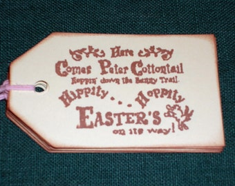 Easter Gift Tags - Here Comes Peter Cottontail Gift Tags Set of Six - Easter