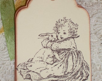 Easter Gift Tags - Victorian Girl and Bunny Gift Tags - Easter - Set of Six