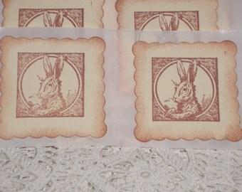 Easter Sticker Seals - Victorian Bunny Rabbit Portrait -  Set of Twelve