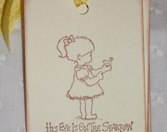 His Eye Is On The Sparrow Gift Tags - Sweet - Set of Six - All Occasion