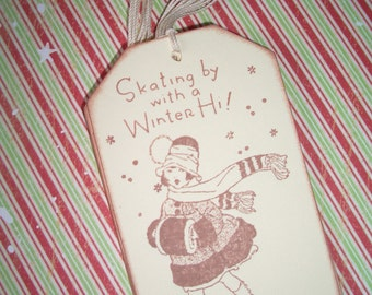 Christmas Gift Tags - Little Ice Skater - Set of Six