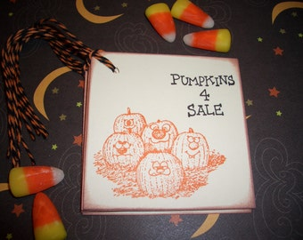 Halloween Gift Tags - Pumpkins 4 Sale - Handmade Set of Six - Wish Tree Tags - Thanksgiving Autumn Tags