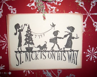 Christmas Gift Tags - St. Nick is On His Way - Silhouettes - Set of Six