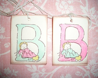 Baby Gift Tags - Adorable Letter B with Baby and Ducky - Set of Six - Wish Tree Tags - Shower